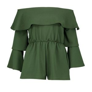 Petite Double Layer Ruffle Sleeve Playsuit